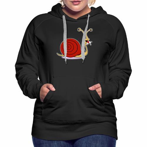 Escargot rigolo red version - Sweat-shirt à capuche Premium pour femmes