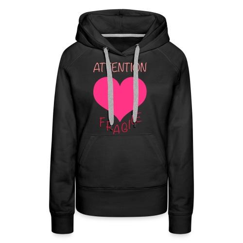 coeur fragile - Sweat-shirt à capuche Premium pour femmes