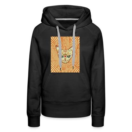 cat calavera grunge effect t shirt design - Felpa con cappuccio premium da donna
