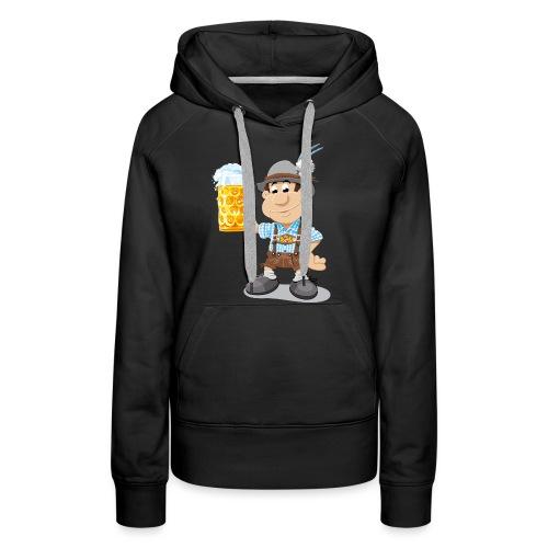 Bier Maßkrug Lederhosen Cartoon Man - Frauen Premium Hoodie