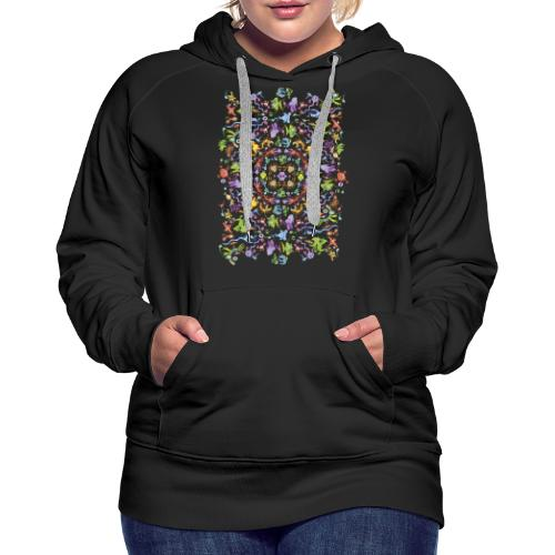 Crazy monsters posing for a colorful pattern - Women's Premium Hoodie