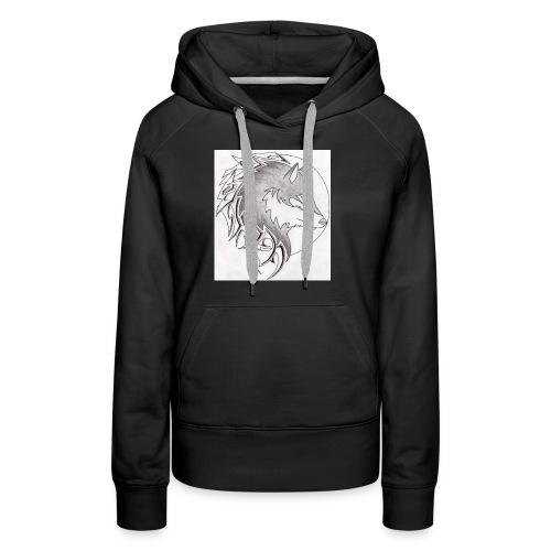 wolf_i_a_moon_tribal_tatt - Frauen Premium Hoodie