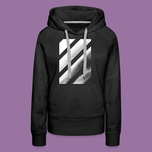 Stripes Diagonal White - Felpa con cappuccio premium da donna