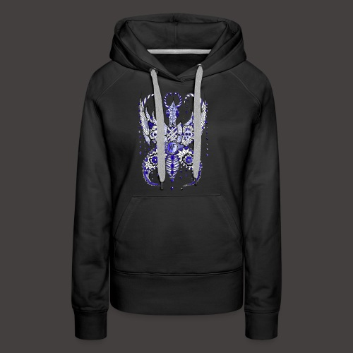 Papillon Lilou Bleu - Sweat-shirt à capuche Premium pour femmes