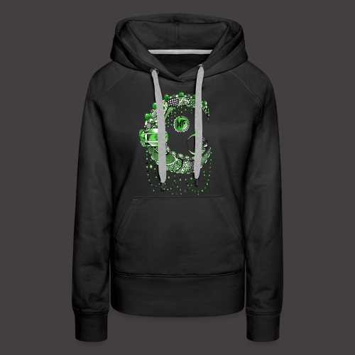 Lune dentelle Verte - Sweat-shirt à capuche Premium pour femmes
