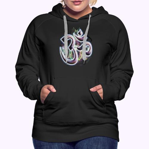Fractal Om - Sudadera con capucha premium para mujer