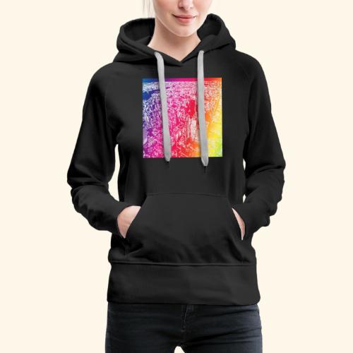 Manhattan arcobaleno - Felpa con cappuccio premium da donna