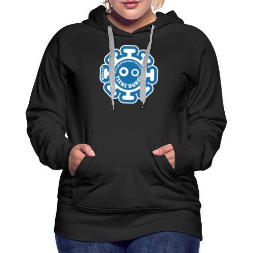 Corona Virus #rimaneteacasa azzurro - Felpa con cappuccio premium da donna
