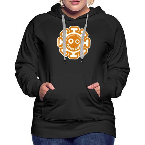 Corona Virus #restecheztoi orange - Sudadera con capucha premium para mujer