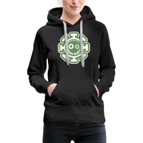 Corona Virus #rimaneteacasa verde - Sudadera con capucha premium para mujer