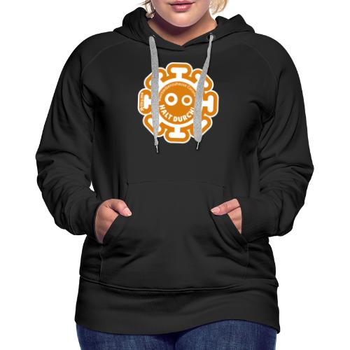 Corona Virus #WirBleibenZuhause orange - Sudadera con capucha premium para mujer