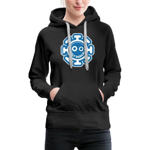 Corona Virus #WirBleibenZuhause blau - Sudadera con capucha premium para mujer