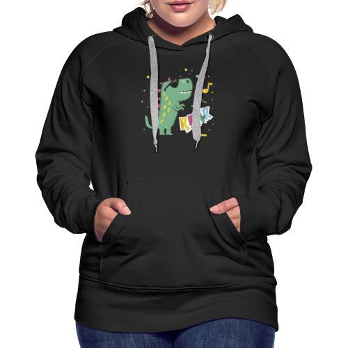 DINO MUSIC 1 - Sudadera con capucha premium para mujer