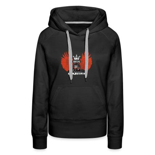 WINGS King of the country wit rood op zwart - Vrouwen Premium hoodie