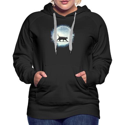 Chat au clair de lune - Sweat-shirt à capuche Premium pour femmes