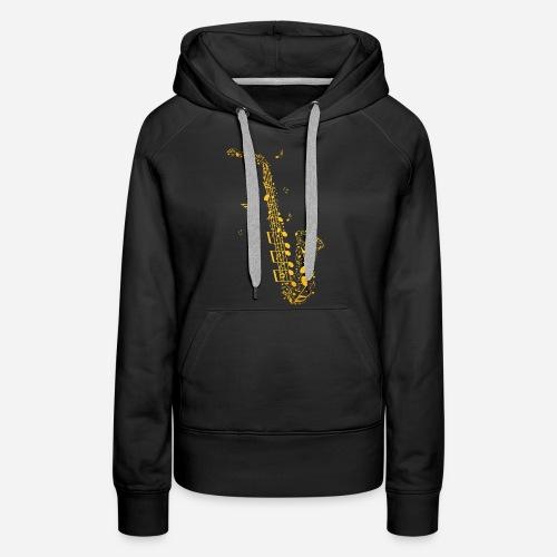 Goldenes Saxophon aus Musiknoten - Frauen Premium Hoodie