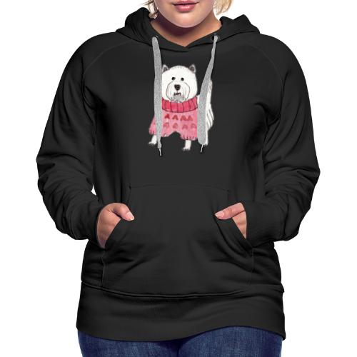westie with sweater - Dame Premium hættetrøje