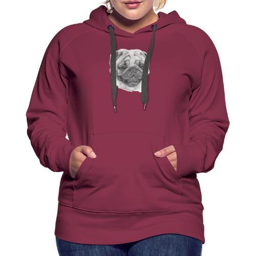 Pug mops 2 - Dame Premium hættetrøje