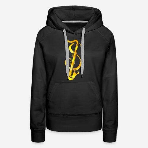 Goldenes Saxophone mit Notenschlüssel - Frauen Premium Hoodie