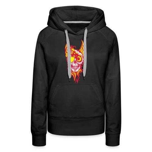 tete mort moto skull aile flamme fire - Sweat-shirt à capuche Premium pour femmes