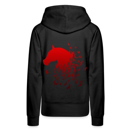 Pferd in rot mit Vögeln Geschenk - Frauen Premium Hoodie