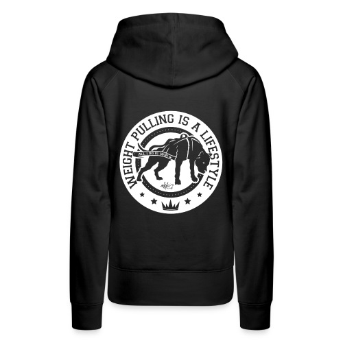 LogoBlancTransparent WeightPullingIsALifestyle png - Sweat-shirt à capuche Premium pour femmes