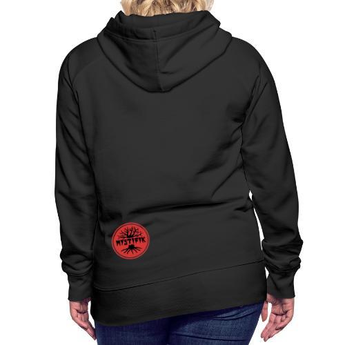 sort logo på rød baggrund med rød ring - Dame Premium hættetrøje