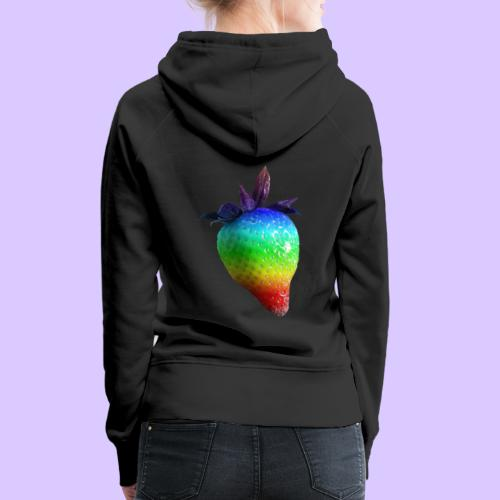 bunte Erdbeere in den Farben des Regenbogens - Frauen Premium Hoodie