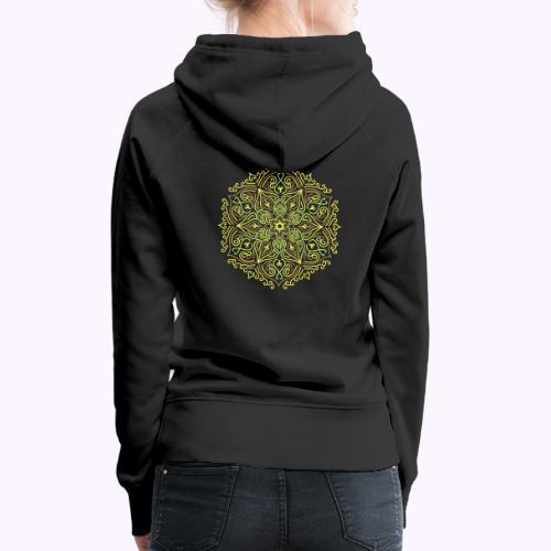 Mandala de loto de fuego - Sudadera con capucha premium para mujer