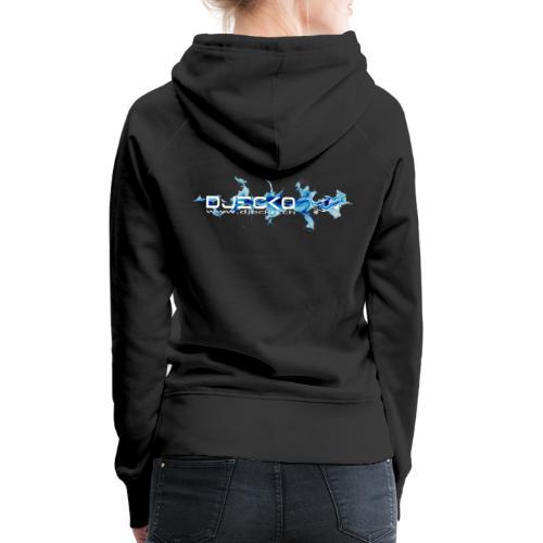 logo wave bleu fond noir - Sweat-shirt à capuche Premium pour femmes