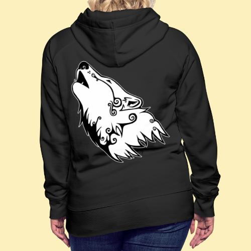 Le Loup de Neved (version contour blanc) - Sweat-shirt à capuche Premium pour femmes