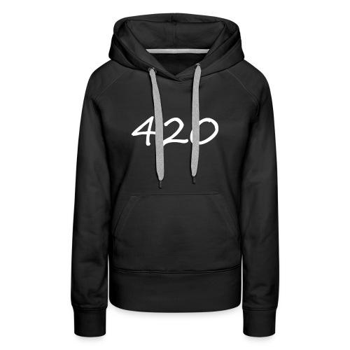 A hand drawn cannabis inspired 420 text logo - Women's Premium Hoodie