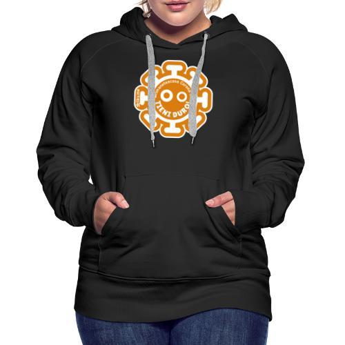 Corona Virus #rimaneteacasa arancione - Felpa con cappuccio premium da donna