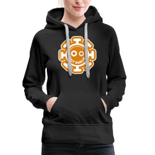 Corona Virus #WirBleibenZuhause arancione - Felpa con cappuccio premium da donna