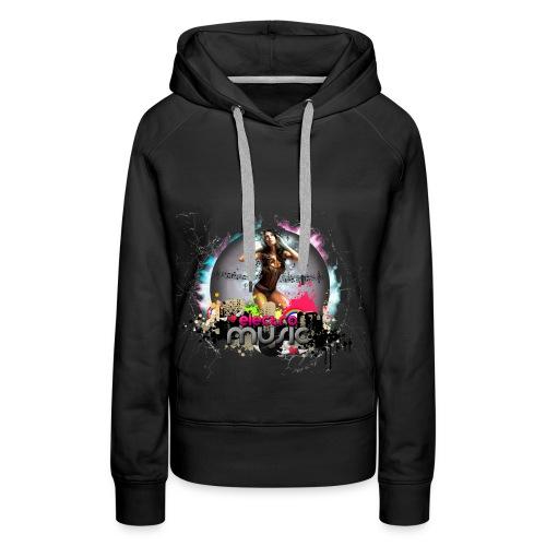 Chica_electro_music-png - Sudadera con capucha premium para mujer