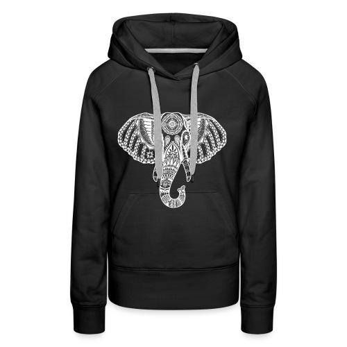 White Elephant india desig Elefant indisch Muster - Frauen Premium Hoodie