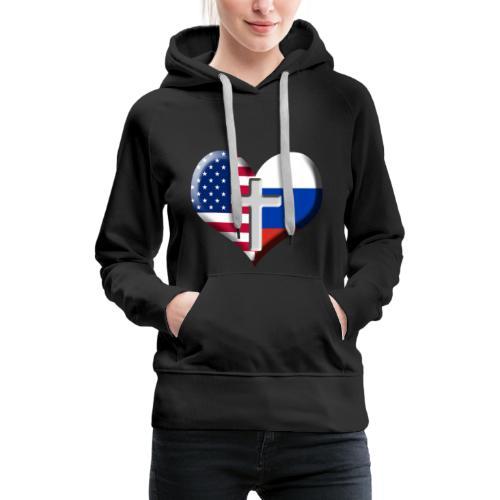 USA and Russia Heart with Cross - Women's Premium Hoodie