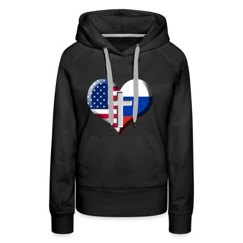 USA and Russia Heart with Cross - Premium hettegenser for kvinner