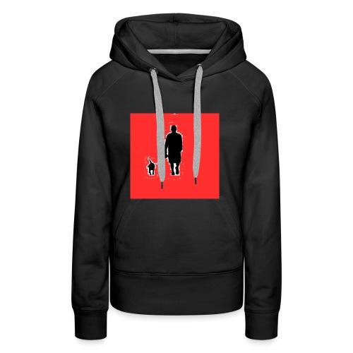 Silhouette Man Walking Dog - Felpa con cappuccio premium da donna