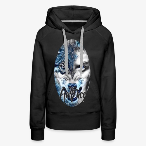 Wolf face Half face png (Black background only) - Women's Premium Hoodie