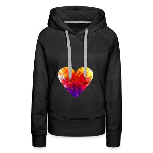 Valentines Day Tee Shirt - Coloured Rainbow Heart - Women's Premium Hoodie