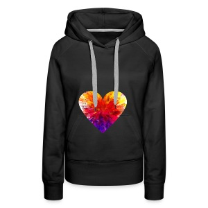 Valentines Day Tee Shirt - Coloured Rainbow Heart - Women's Premium Hoodie