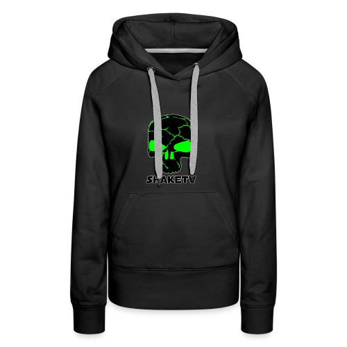 shaketv verde scritta sotto contorno bianco 3 - Felpa con cappuccio premium da donna