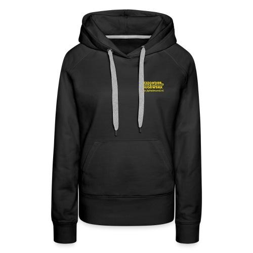 logo geel rechtsboven met jiphelmond - Vrouwen Premium hoodie
