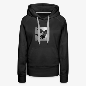 Black white roses on canvas - Women's Premium Hoodie