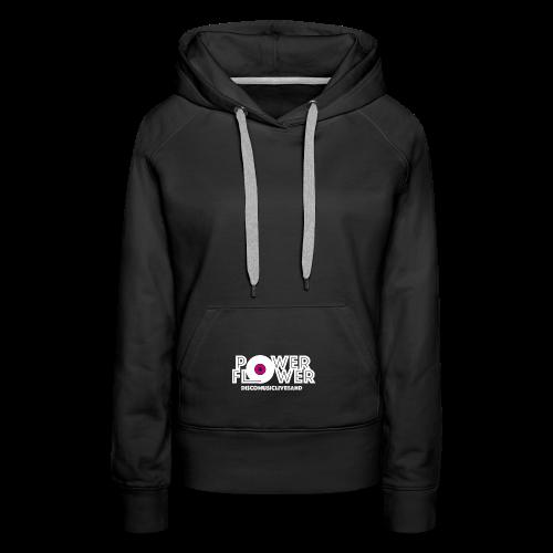 Logo PowerFlower bianco e fuxia - Felpa con cappuccio premium da donna