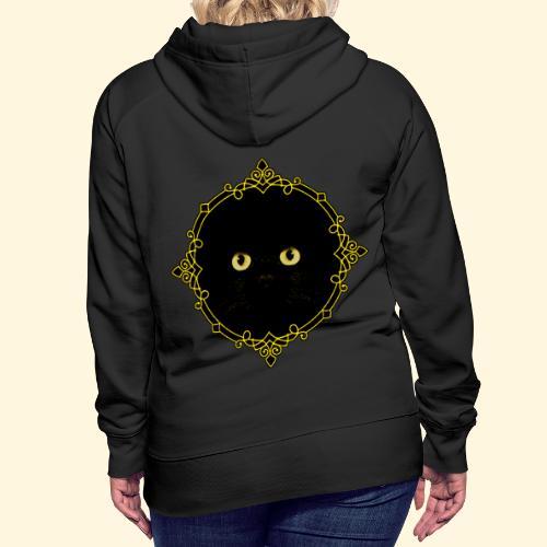 Badge Chat Noir - Pixel Art - Sweat-shirt à capuche Premium pour femmes