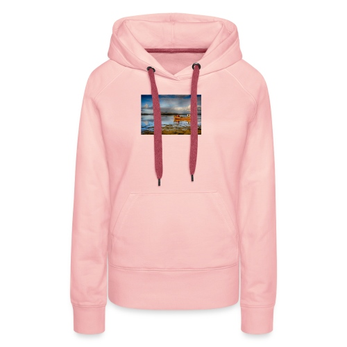yellow boat on the sea over blue sky - Women's Premium Hoodie