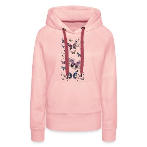 Tattoo de mariposas lilas y rosas - Sudadera con capucha premium para mujer
