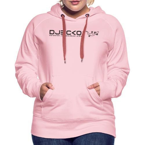 Logo rect noir txt et gecko - Sweat-shirt à capuche Premium pour femmes